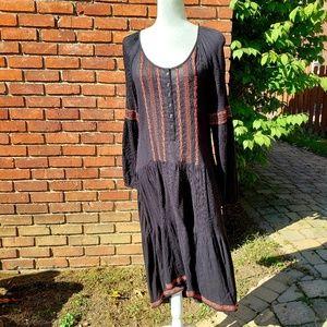 Free People black Boho dress, embroidery. Medium